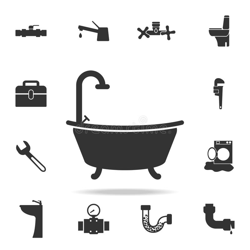 Εικονίδιο μπανιέρων Λεπτομερές σύνολο εικονιδίων στοιχείων υδραυλικών Γραφικό σχέδιο εξαιρετικής ποιότητας Ένα από τα εικονίδια σ ελεύθερη απεικόνιση δικαιώματος