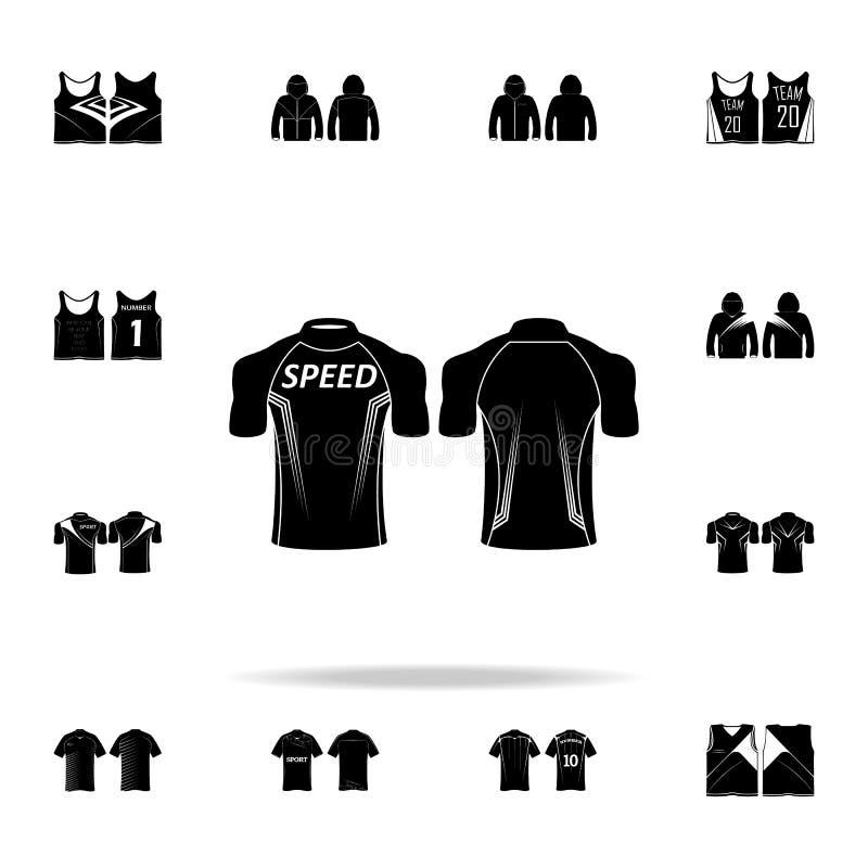 Εικονίδιο μπλουζών μοτοσικλετών Καθολικό εικονιδίων μπλουζών που τίθεται για τον Ιστό και κινητό διανυσματική απεικόνιση