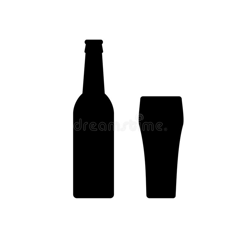 Εικονίδιο μπουκαλιών μπύρας και γραπτός γυαλιού που απομονώνεται διανυσματική απεικόνιση