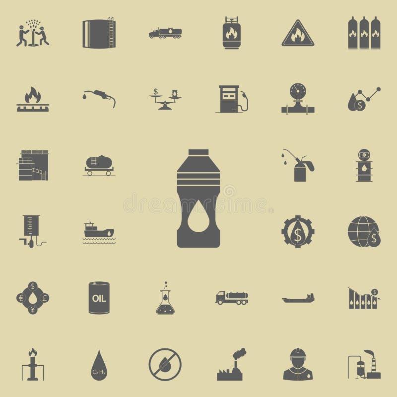 Εικονίδιο μπουκαλιών πετρελαίου Καθολικό εικονιδίων πετρελαίου που τίθεται για τον Ιστό και κινητό διανυσματική απεικόνιση