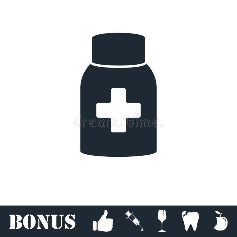 Εικονίδιο μπουκαλιών χαπιών ιατρικής επίπεδο διανυσματική απεικόνιση
