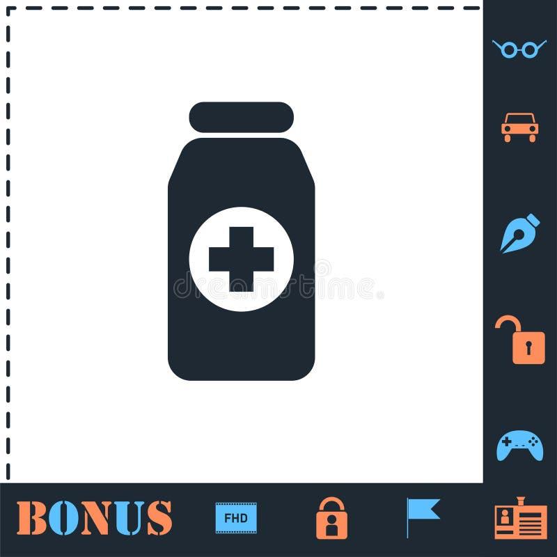 Εικονίδιο μπουκαλιών χαπιών ιατρικής επίπεδο απεικόνιση αποθεμάτων