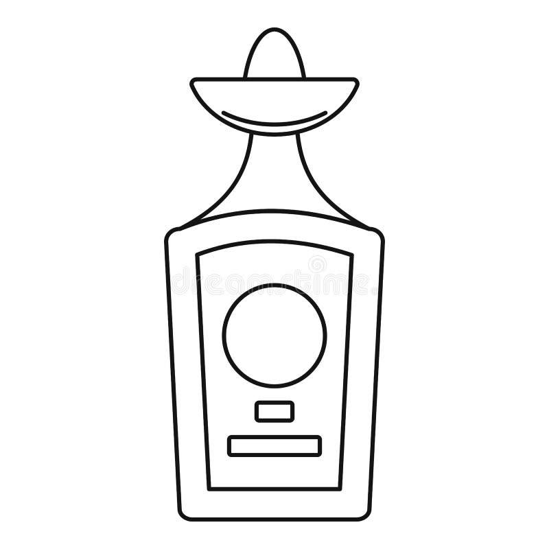 Εικονίδιο μπουκαλιών Tequila, ύφος περιλήψεων διανυσματική απεικόνιση