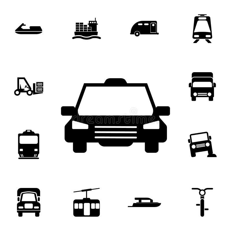 εικονίδιο μπροστινής άποψης ταξί Λεπτομερές σύνολο εικονιδίων μεταφορών Γραφικό σημάδι σχεδίου εξαιρετικής ποιότητας Ένα από τα ε απεικόνιση αποθεμάτων