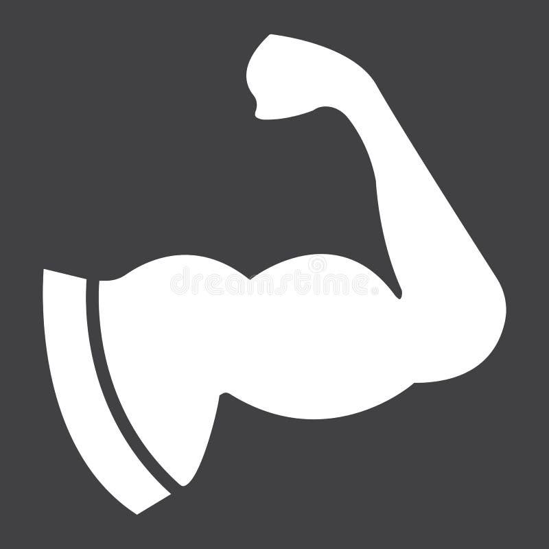 Εικονίδιο μυών βραχιόνων glyph, ικανότητα και αθλητισμός, δικέφαλοι μυ'ες απεικόνιση αποθεμάτων