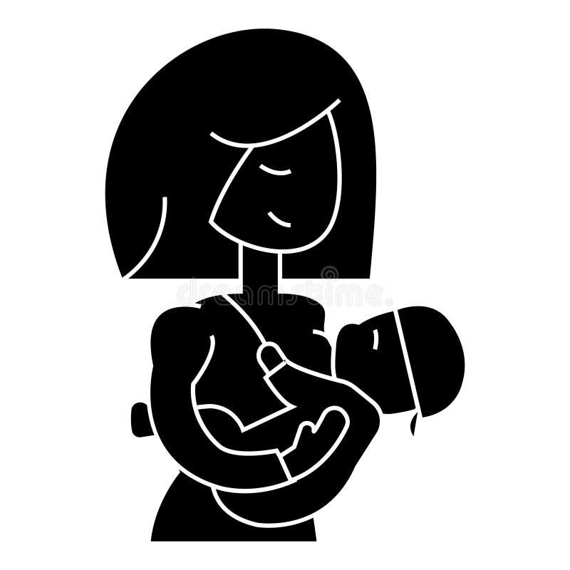 Εικονίδιο μωρών θηλασμού μητέρων, διανυσματική απεικόνιση, σημάδι στο απομονωμένο υπόβαθρο ελεύθερη απεικόνιση δικαιώματος