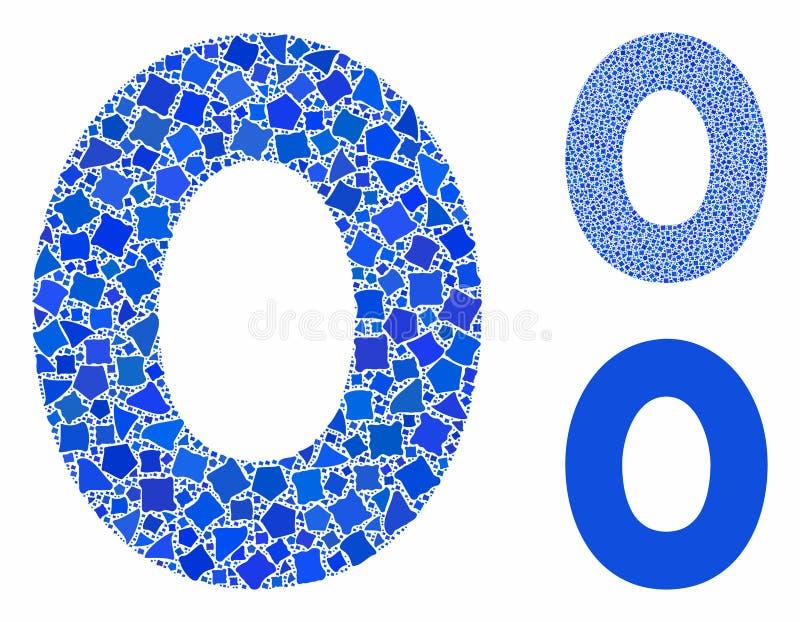 Εικονίδιο μωσαϊκού με 0 ψηφία για ακανόνιστα στοιχεία απεικόνιση αποθεμάτων