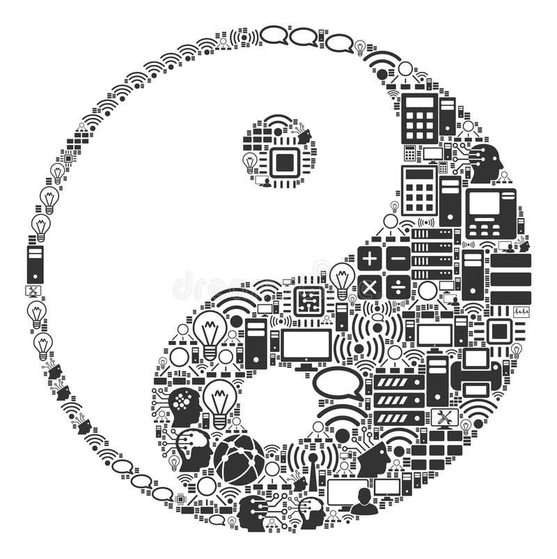 Εικονίδιο μωσαϊκών Yang Yin για BigData και τον υπολογισμό ελεύθερη απεικόνιση δικαιώματος