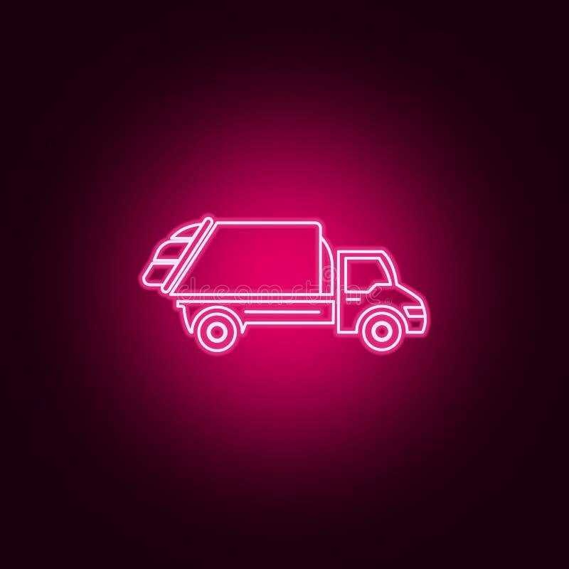 εικονίδιο νέου φορτηγών απορριμάτων Στοιχεία του συνόλου μεταφορών r διανυσματική απεικόνιση