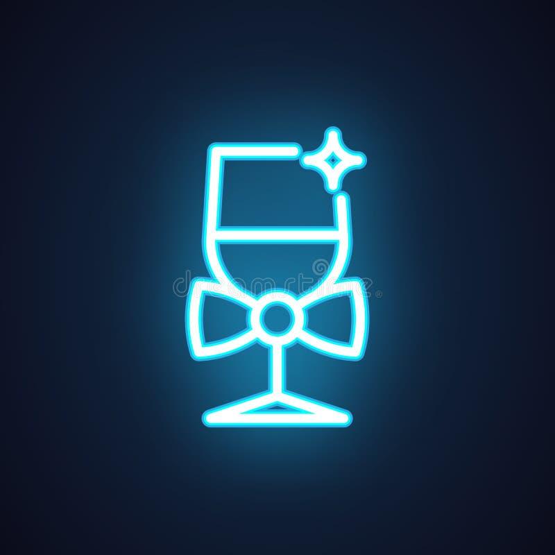 Εικονίδιο νέου CHAMPAGNE Γυαλί κρασιού με το τόξο που απομονώνεται στο Μαύρο Σύμβολο του ρομαντικού γεύματος, κόμμα κοκτέιλ, εορτ ελεύθερη απεικόνιση δικαιώματος