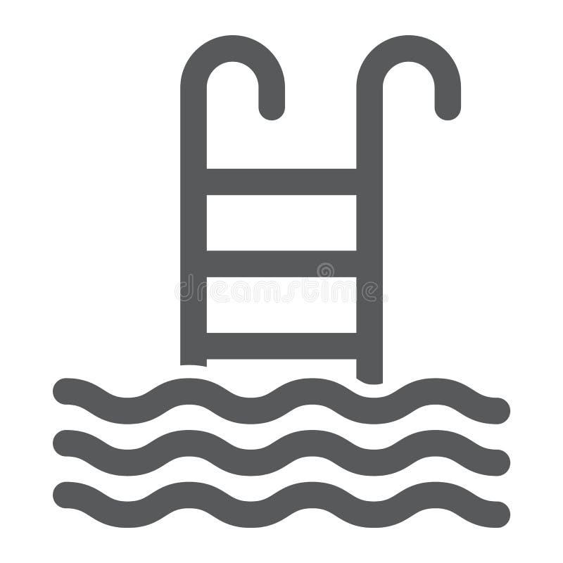 Εικονίδιο, νερό και αθλητισμός πισινών glyph απεικόνιση αποθεμάτων