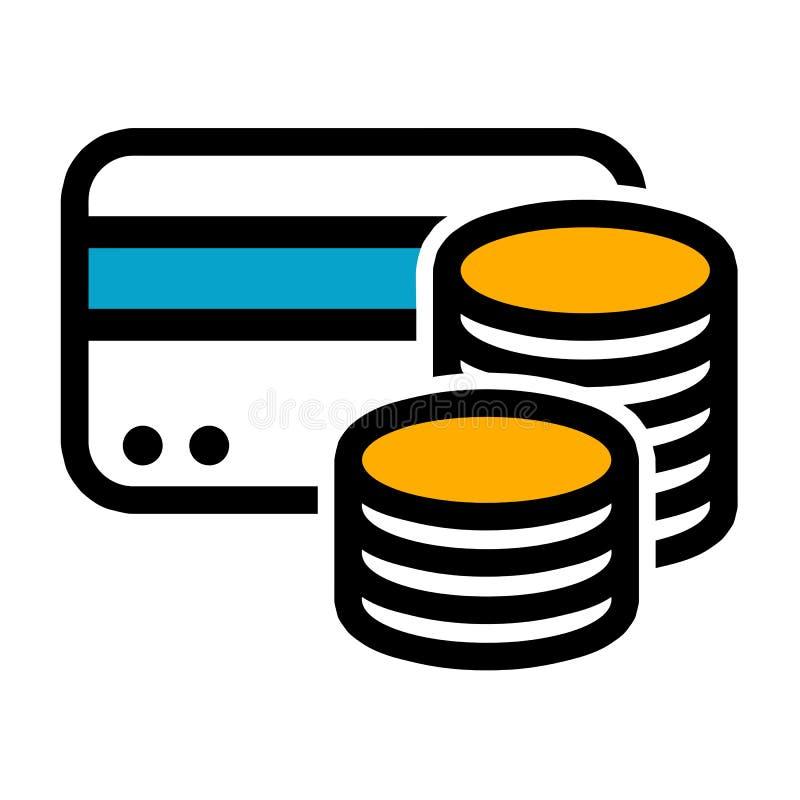 Εικονίδιο νομισμάτων μετρητών πιστωτικών καρτών r απεικόνιση αποθεμάτων