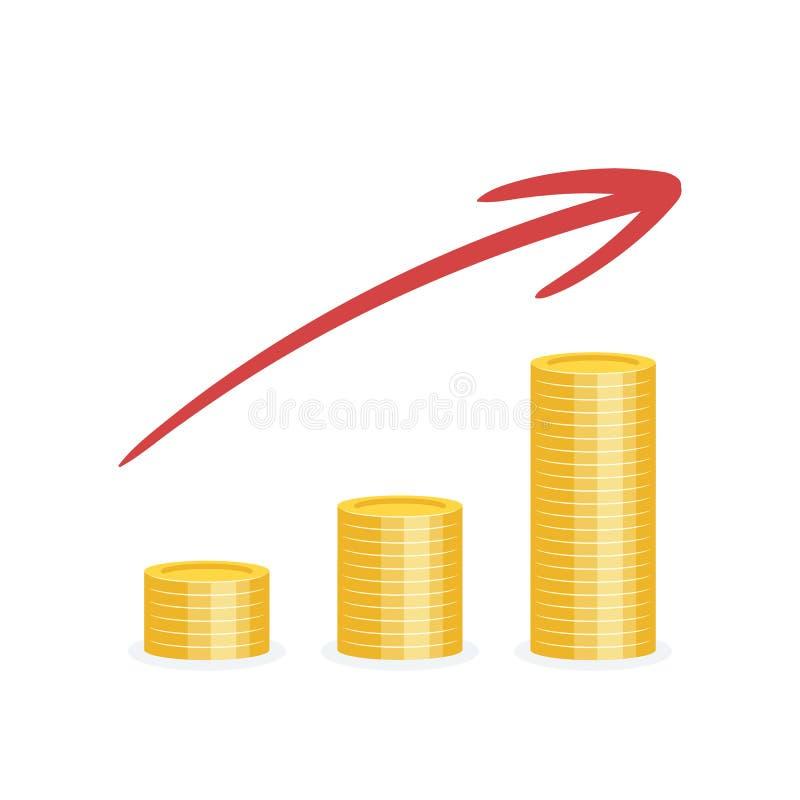 Εικονίδιο νομισμάτων πωλήσεων αύξησης επάνω στη επιχειρησιακή στρατηγική βελών ελεύθερη απεικόνιση δικαιώματος