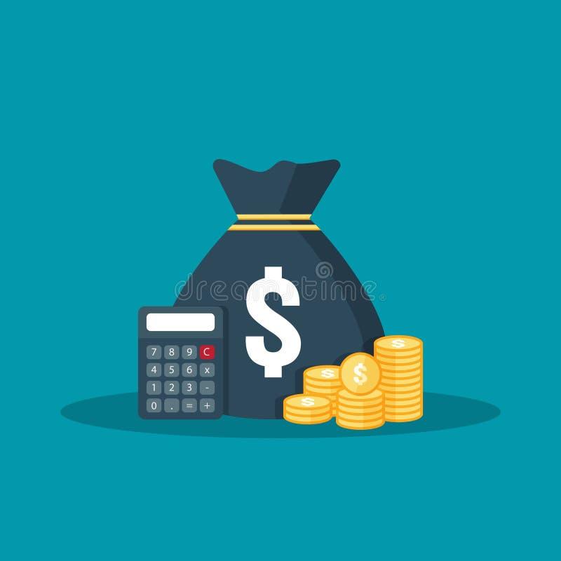 εικονίδιο νομισμάτων σωρών δολαρίων χρυσή χρυσή τσάντα σωρών και χρημάτων για την αποταμίευση κέρδους υπολογισμοί που μετρούν, στ ελεύθερη απεικόνιση δικαιώματος