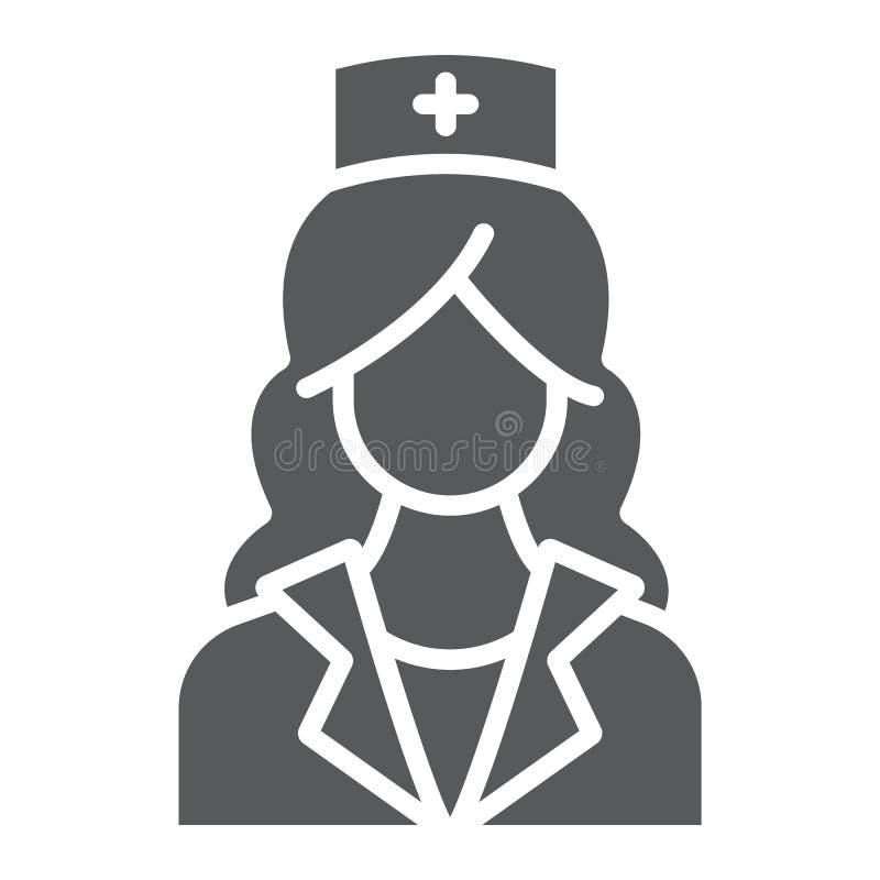 Εικονίδιο νοσοκόμων glyph, ιατρική και κλινικός, γυναίκα ελεύθερη απεικόνιση δικαιώματος