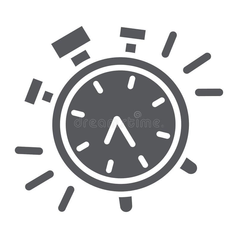 Εικονίδιο ξυπνητηριών glyph, χρόνος και ρολόι, σημάδι ρολογιών, διανυσματική γραφική παράσταση, ένα στερεό σχέδιο σε ένα άσπρο υπ απεικόνιση αποθεμάτων