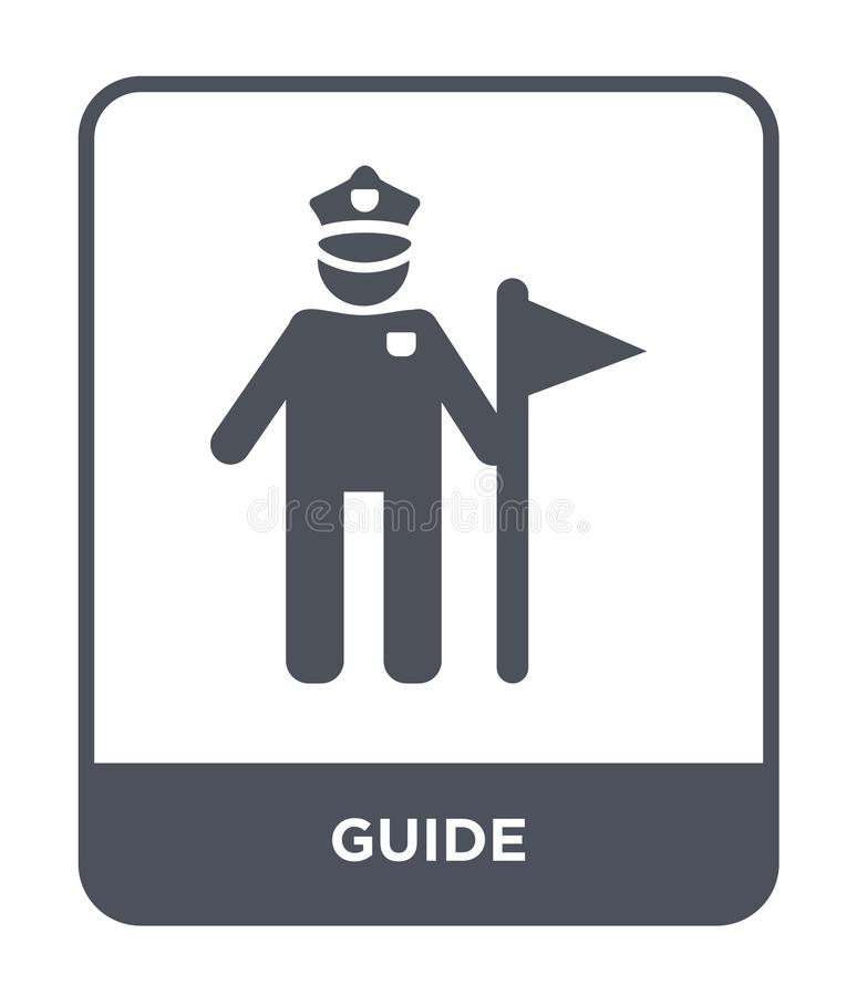 εικονίδιο οδηγών στο καθιερώνον τη μόδα ύφος σχεδίου εικονίδιο οδηγών που απομονώνεται στο άσπρο υπόβαθρο απλό και σύγχρονο επίπε απεικόνιση αποθεμάτων