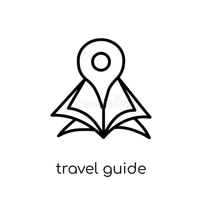 Εικονίδιο οδηγών ταξιδιού Καθιερώνων τη μόδα σύγχρονος επίπεδος γραμμικός διανυσματικός οδηγός ταξιδιού απεικόνιση αποθεμάτων