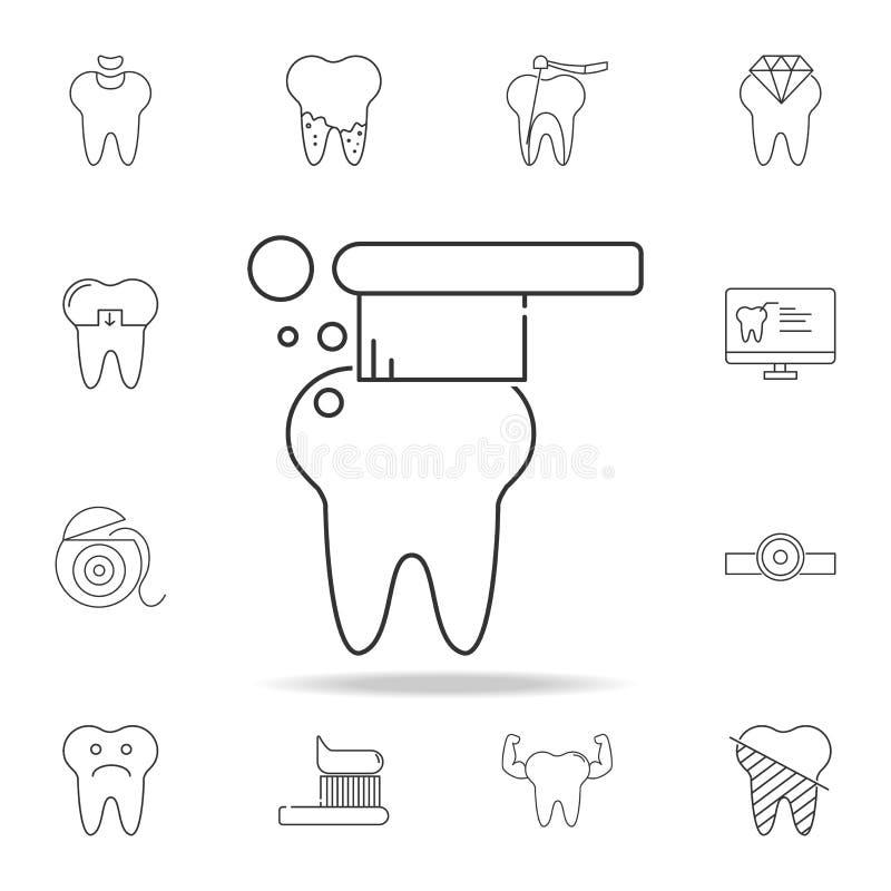εικονίδιο οδοντοβουρτσών Λεπτομερές σύνολο οδοντικών εικονιδίων γραμμών περιλήψεων Γραφικό εικονίδιο σχεδίου εξαιρετικής ποιότητα διανυσματική απεικόνιση