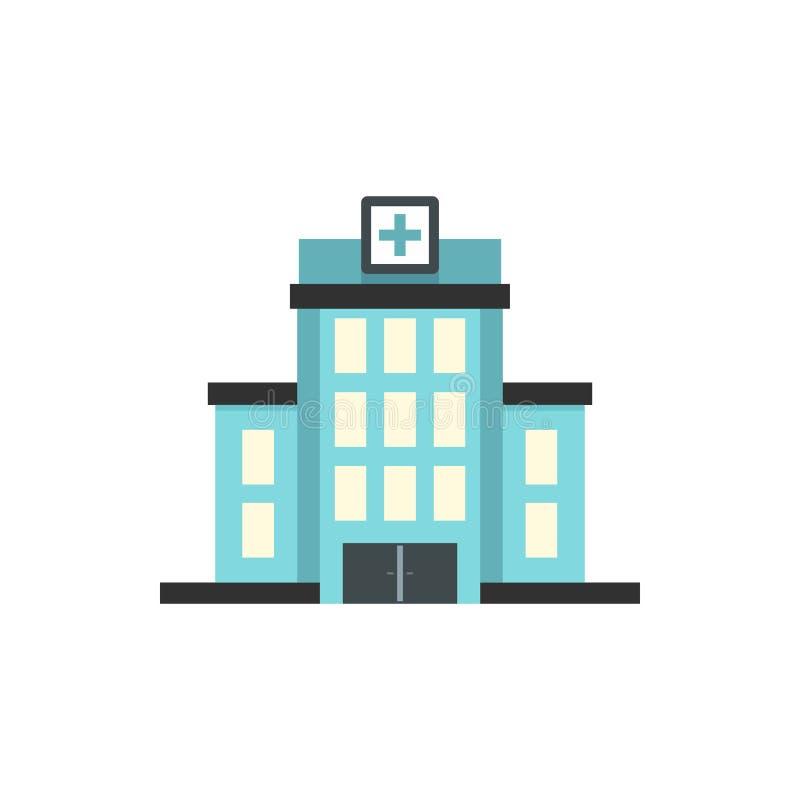 Εικονίδιο οικοδόμησης νοσοκομείων, επίπεδο ύφος ελεύθερη απεικόνιση δικαιώματος