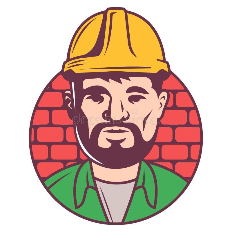 Εικονίδιο οικοδόμων χρώματος στο κράνος στο υπόβαθρο τούβλων ο ενήλικος επιστάτης με το borada ενέγραψε σε έναν κύκλο απεικόνιση αποθεμάτων