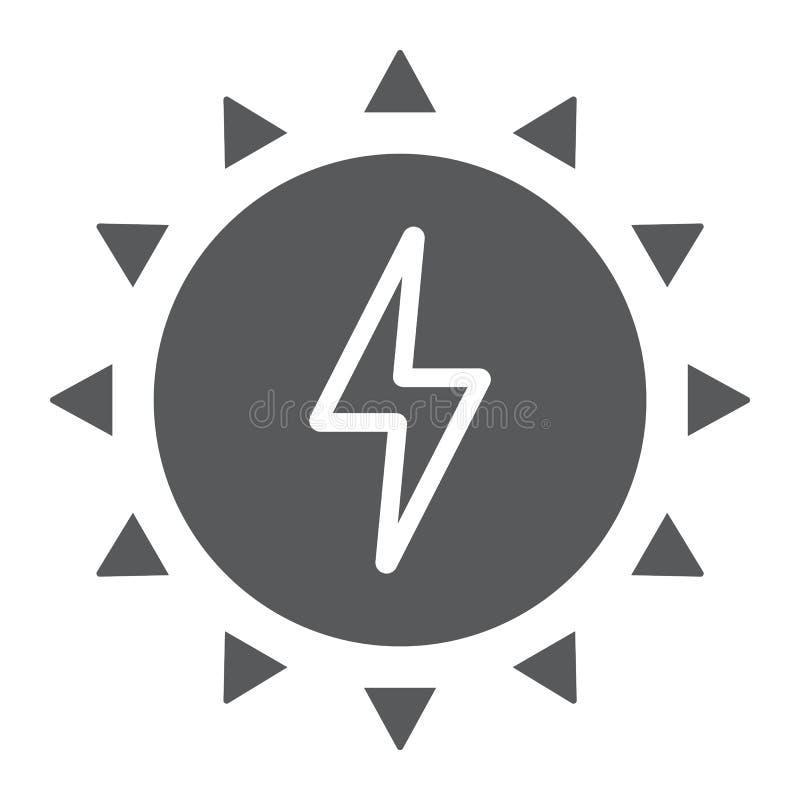 Εικονίδιο, οικολογία και ενέργεια ηλιακής ενέργειας glyph απεικόνιση αποθεμάτων