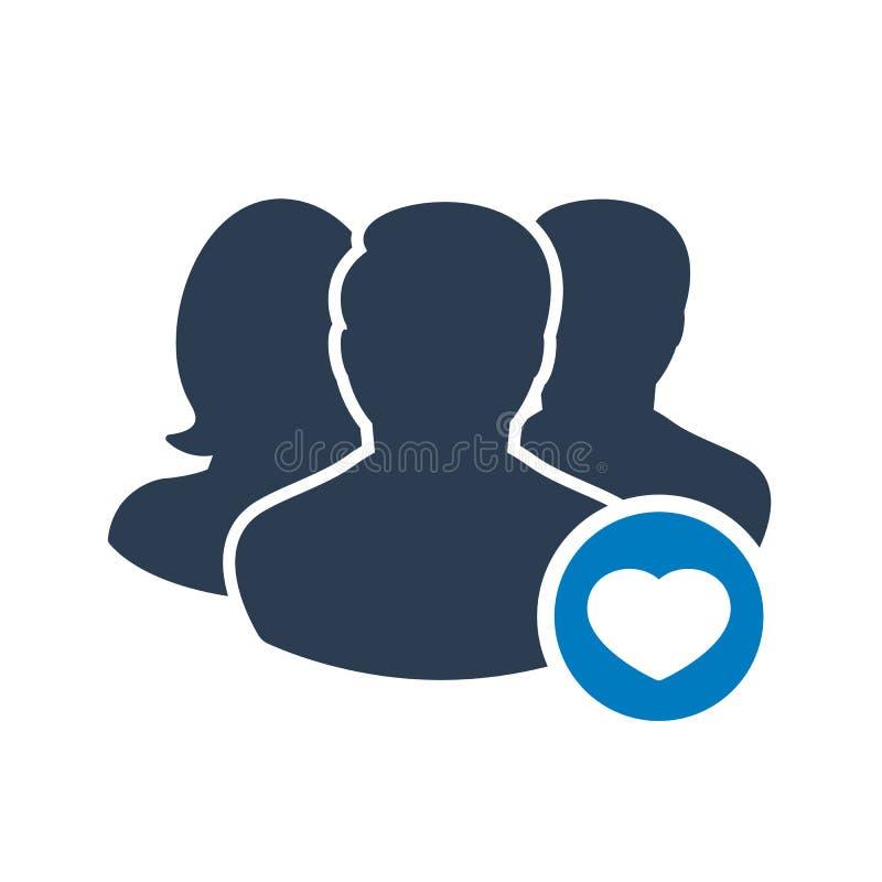 Εικονίδιο ομάδας με το σημάδι καρδιών Εικονίδιο ομάδας και αγαπημένος, όπως, αγάπη, σύμβολο προσοχής διανυσματική απεικόνιση