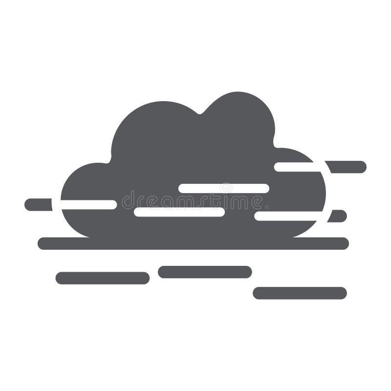 Εικονίδιο ομίχλης glyph, καιρός και πρόβλεψη, σημάδι υγρασίας, διανυσματική γραφική παράσταση, ένα στερεό σχέδιο σε ένα άσπρο υπό απεικόνιση αποθεμάτων