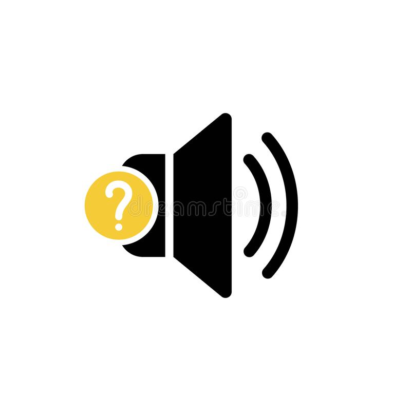 Εικονίδιο ομιλητών με το ερωτηματικό Εικονίδιο και βοήθεια ομιλητών, πώς, πληροφορίες, σύμβολο ερώτησης διανυσματική απεικόνιση
