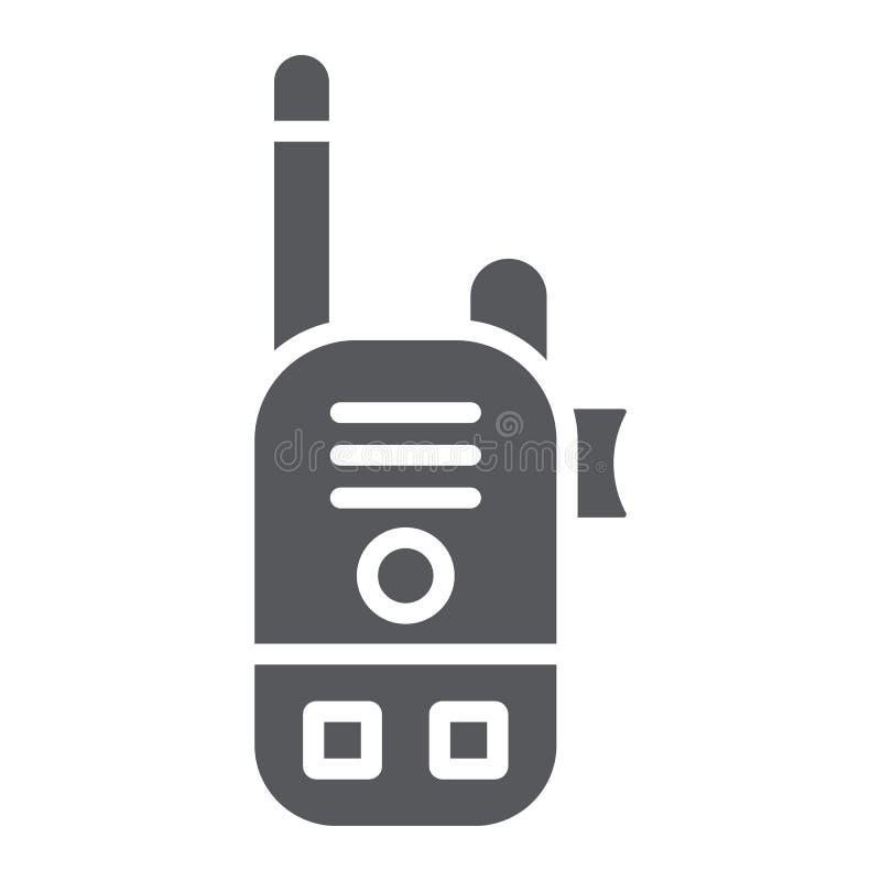 Εικονίδιο ομιλουσών ταινιών Walkie glyph, ανακοίνωση και συσκευή αποστολής σημάτων, ραδιο καθορισμένο σημάδι, διανυσματική γραφικ απεικόνιση αποθεμάτων