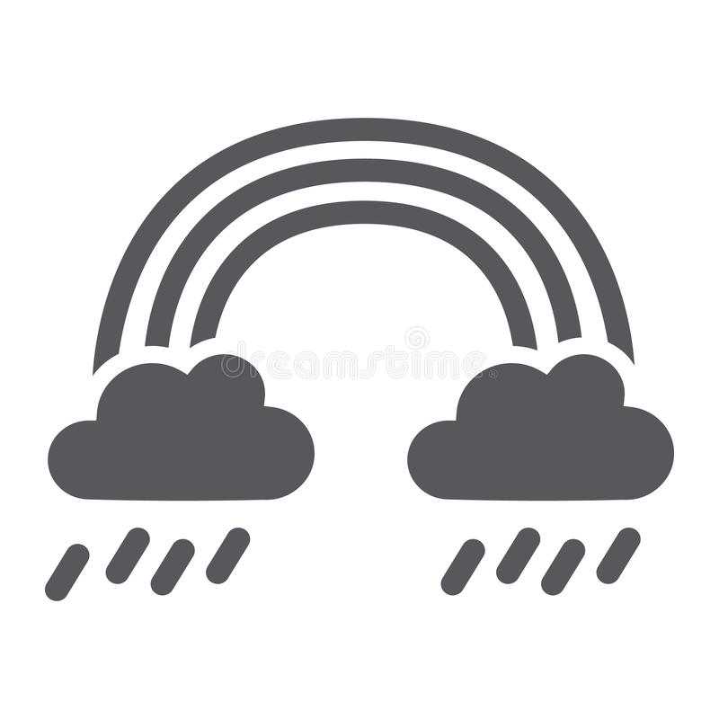 Εικονίδιο ουράνιων τόξων και βροχής glyph, καιρός και φύση, βροχερό σημάδι, διανυσματική γραφική παράσταση, ένα στερεό σχέδιο σε  απεικόνιση αποθεμάτων