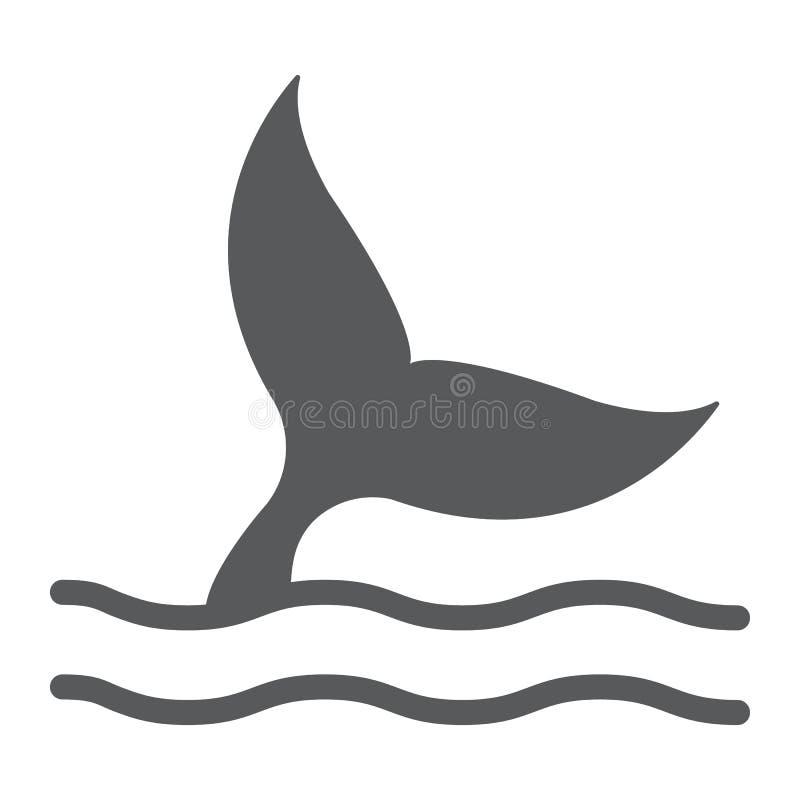 Εικονίδιο ουρών φαλαινών glyph, υδρόβιο ζώο, ζωή θάλασσας απεικόνιση αποθεμάτων