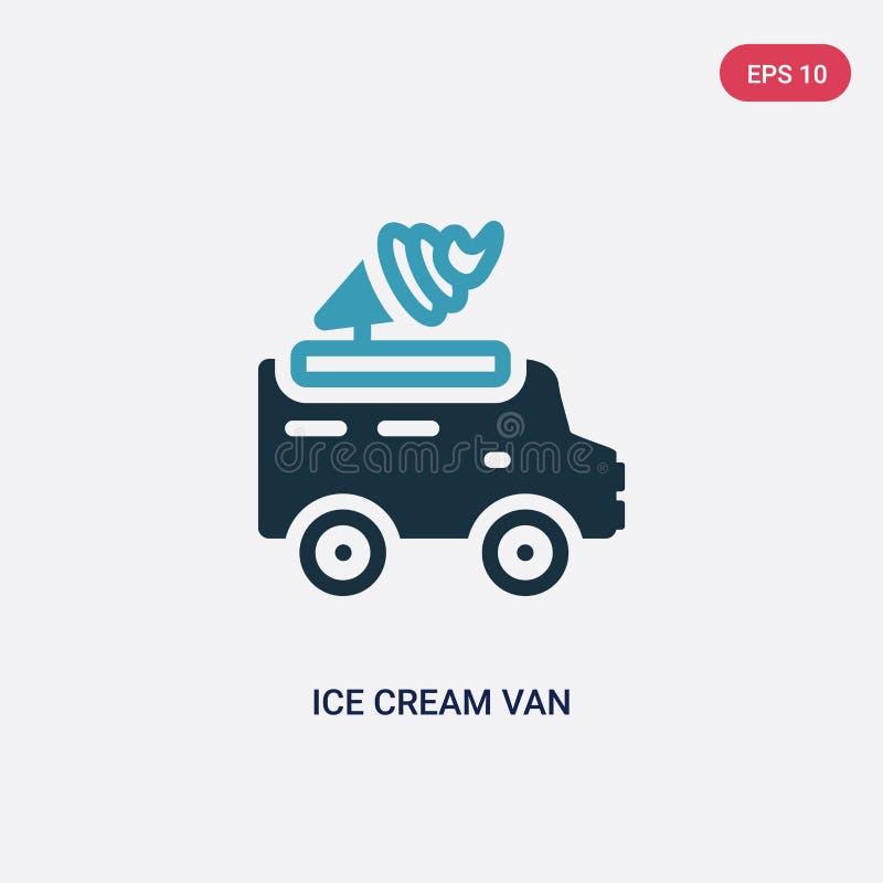 Εικονίδιο παγωτού δύο χρώματος van vector από τη θερινή έννοια το απομονωμένο μπλε σύμβολο σημαδιών παγωτού van vector μπορεί να  ελεύθερη απεικόνιση δικαιώματος