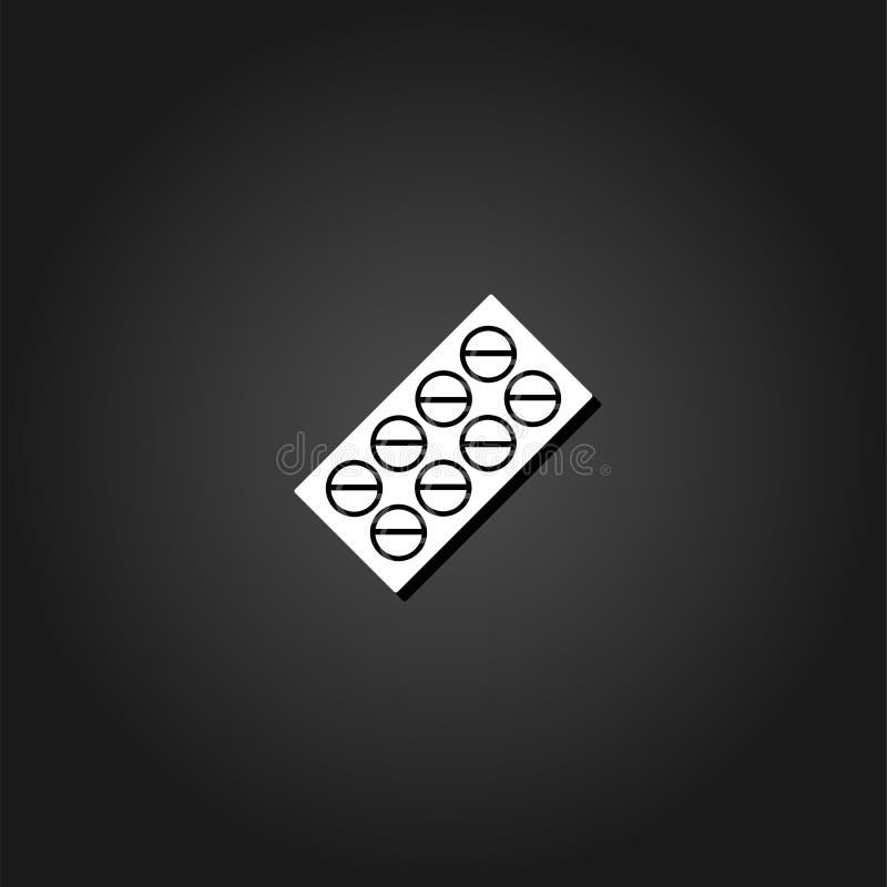 Εικονίδιο πακέτων φουσκαλών χαπιών επίπεδο ελεύθερη απεικόνιση δικαιώματος