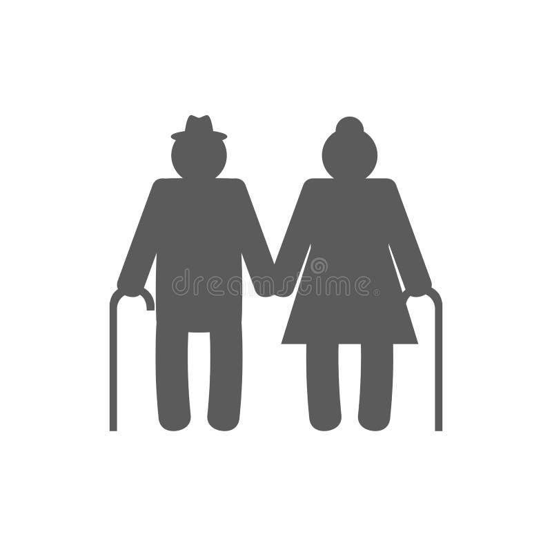 Εικονίδιο παππούδων και γιαγιάδων που απομονώνεται στο άσπρο υπόβαθρο ελεύθερη απεικόνιση δικαιώματος