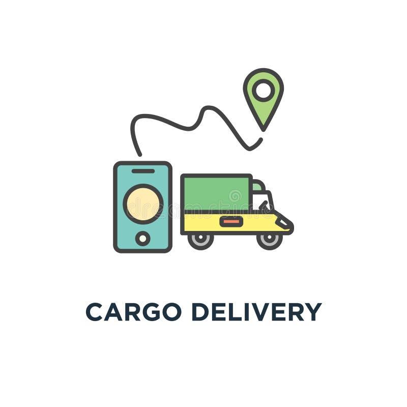 εικονίδιο παράδοσης φορτίου, περίληψη της ναυσιπλοΐας ΠΣΤ, παράδοση αγορών, μεταφορά, λογιστικό σύστημα ή κινητό app για τα αγαθά απεικόνιση αποθεμάτων