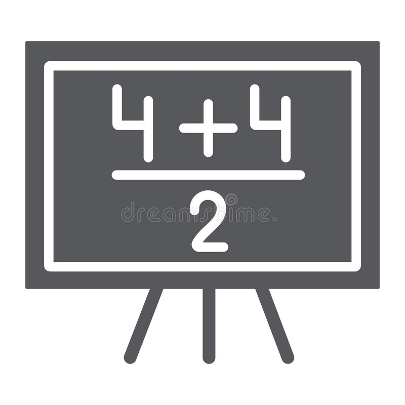 Εικονίδιο παραδείγματος μαθηματικών glyph, μάθημα και μαθηματικός, πίνακας με το αριθμητικό σημάδι, διανυσματική γραφική παράστασ απεικόνιση αποθεμάτων