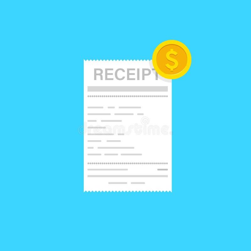Εικονίδιο παραλαβών με το νόμισμα σε ένα επίπεδο ύφος που απομονώνεται σε ένα χρωματισμένο υπόβαθρο Σημάδι τιμολογίων Πρότυπο ή ε απεικόνιση αποθεμάτων
