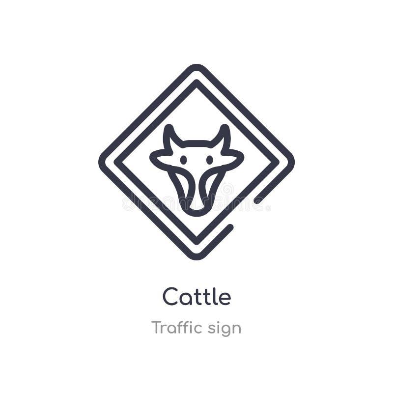 εικονίδιο περιλήψεων βοοειδών απομονωμένη διανυσματική απεικόνιση γραμμών από τη συλλογή σημαδιών κυκλοφορίας editable λεπτό εικο ελεύθερη απεικόνιση δικαιώματος