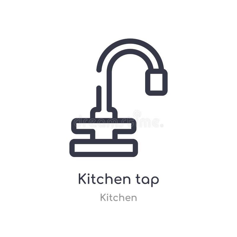 εικονίδιο περιλήψεων βρυσών κουζινών απομονωμένη διανυσματική απεικόνιση γραμμών από τη συλλογή κουζινών editable λεπτό εικονίδιο ελεύθερη απεικόνιση δικαιώματος