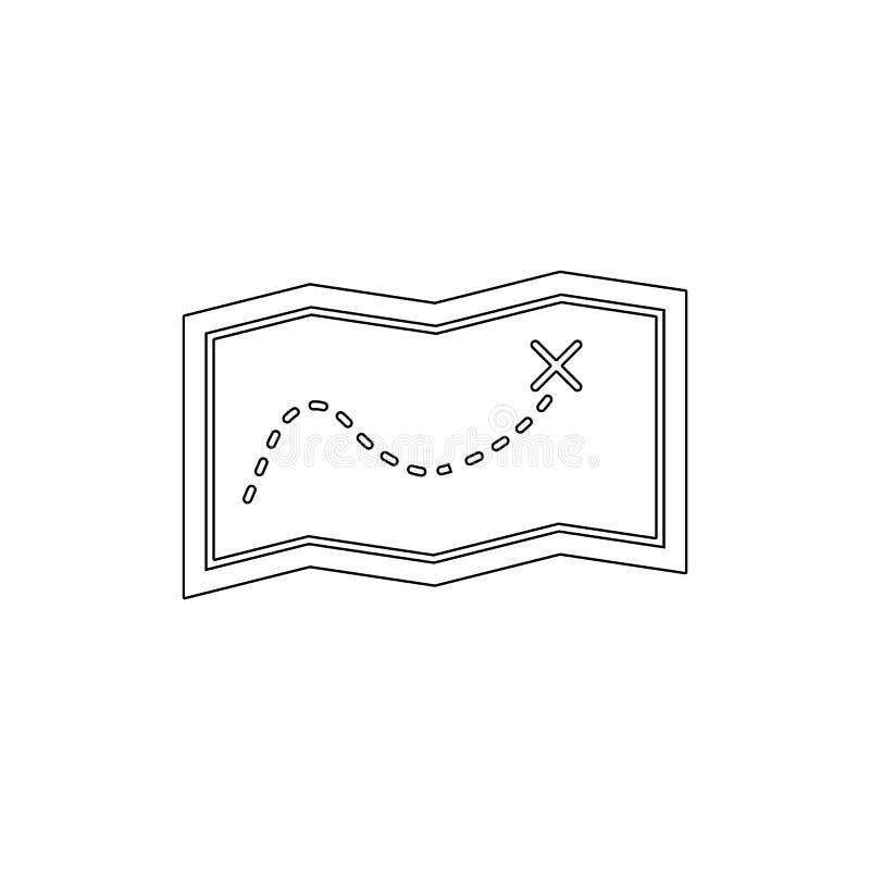 Εικονίδιο περιλήψεων διαδρομών ναυσιπλοΐας χαρτών χαρτών θέσης κατεύθυνσης E απεικόνιση αποθεμάτων