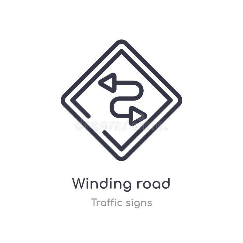 εικονίδιο περιλήψεων δρόμων με πολλ'ες στροφές r editable λεπτό εικονίδιο δρόμων με πολλ'ες στροφές κτυπήματος ελεύθερη απεικόνιση δικαιώματος