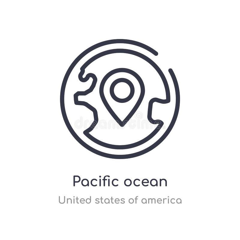 εικονίδιο περιλήψεων Ειρηνικών Ωκεανών απομονωμένη διανυσματική απεικόνιση γραμμών από τη συλλογή των Ηνωμένων Πολιτειών της Αμερ διανυσματική απεικόνιση