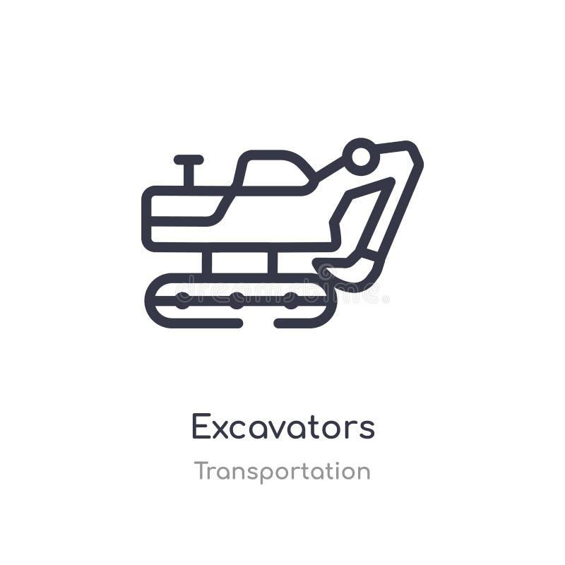 εικονίδιο περιλήψεων εκσκαφέων απομονωμένη διανυσματική απεικόνιση γραμμών από τη συλλογή μεταφορών editable λεπτό εικονίδιο εκσκ ελεύθερη απεικόνιση δικαιώματος