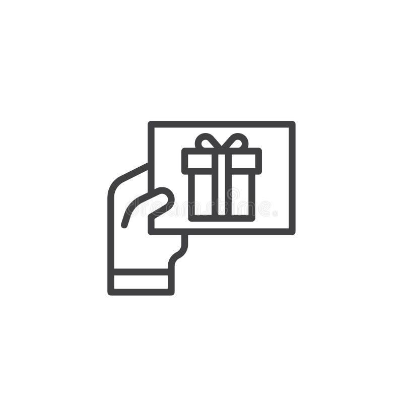 Εικονίδιο περιλήψεων ευχετήριων καρτών δώρων εκμετάλλευσης χεριών ελεύθερη απεικόνιση δικαιώματος