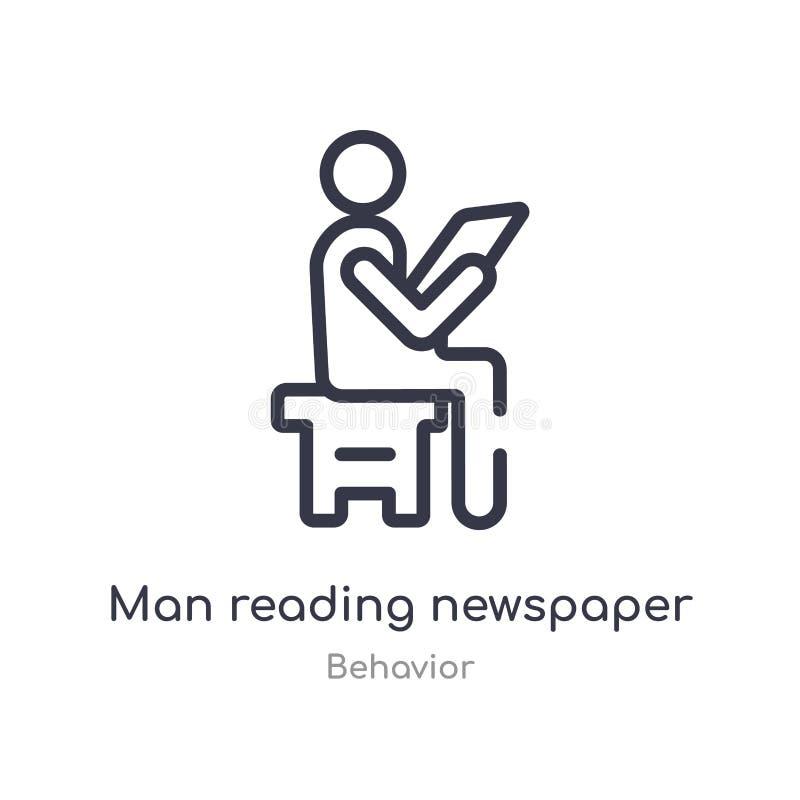 εικονίδιο περιλήψεων εφημερίδων ανάγνωσης ατόμων απομονωμένη διανυσματική απεικόνιση γραμμών από τη συλλογή συμπεριφοράς editable ελεύθερη απεικόνιση δικαιώματος