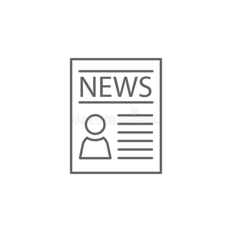 Εικονίδιο περιλήψεων εφημερίδων δικαιοσύνης Στοιχεία του εικονιδίου γραμμών απεικόνισης νόμου Τα σημάδια, τα σύμβολα και το s μπο διανυσματική απεικόνιση