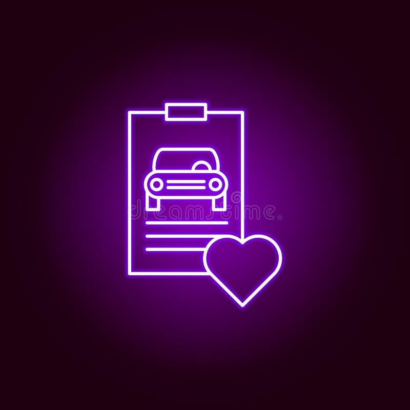 εικονίδιο περιλήψεων καρδιών αυτοκινήτων εκθέσεων στο ύφος νέου Στοιχεία της απεικόνισης επισκευής αυτοκινήτων στο εικονίδιο ύφου διανυσματική απεικόνιση