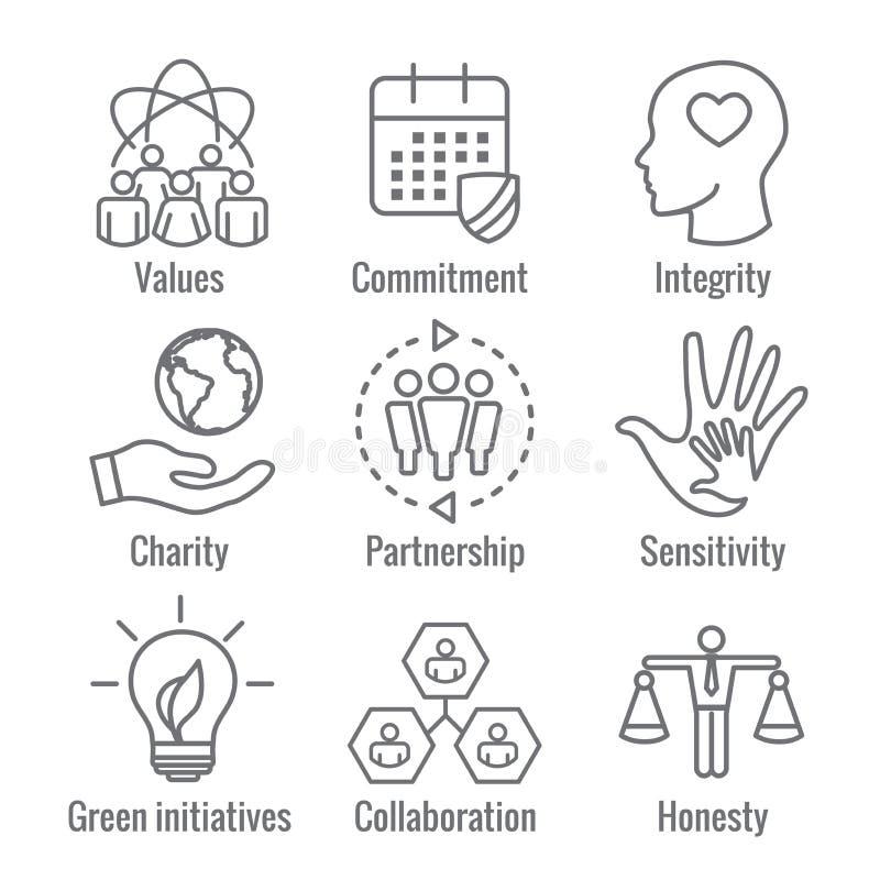 Εικονίδιο περιλήψεων κοινωνικής ευθύνης που τίθεται με την τιμιότητα, ακεραιότητα, διανυσματική απεικόνιση