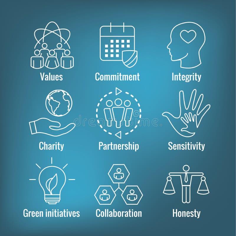 Εικονίδιο περιλήψεων κοινωνικής ευθύνης που τίθεται με την τιμιότητα, ακεραιότητα, ελεύθερη απεικόνιση δικαιώματος